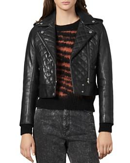 Sandro - Ewan Leather Quilted Biker Jacket