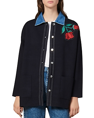 Sandro Tops WAREN EMBROIDERED DENIM-ACCENT CARDIGAN