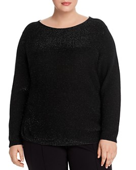 Lafayette 148 New York Plus - Shimmer Cashmere Boat Neck Top