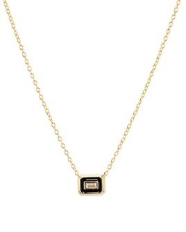 "Argento Vivo - Small Baguette Pendant Necklace in 18K Gold-Plated Sterling Silver, 16""-18"""