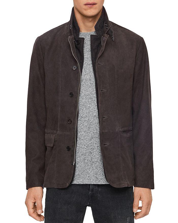 Allsaints Baston Leather Blazer In Soot Gray