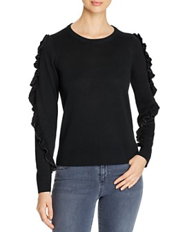 Design History - Metallic Ruffled Detail Sweater