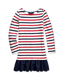 Ralph Lauren - Girls' Striped Drop-Waist Dress - Little Kid