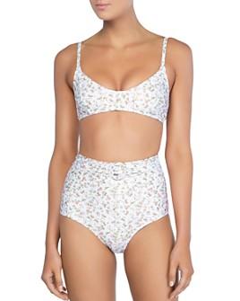 Peony - Piped Bralette Bikini Top & Floral High-Waist Bikini Bottom