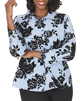 Foxcroft Plus - Jane Striped & Flocked Floral Tunic