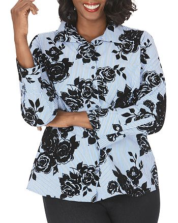 Foxcroft Plus - Jane Striped & Flocked Floral Tunic