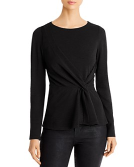 Donna Karan - Twist-Detail Textured Peplum Top