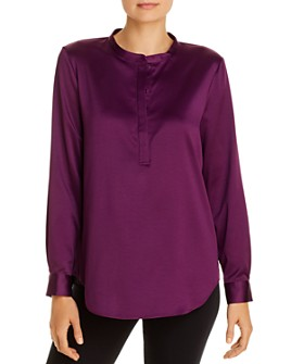 Eileen Fisher Petites - Satin Henley Blouse - 100% Exclusive