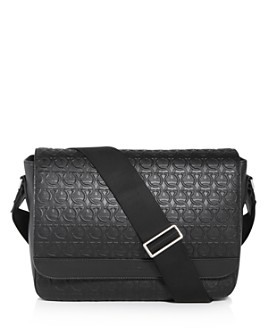 Salvatore Ferragamo - Gancini Embossed Leather Messenger Bag