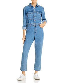 Bardot - Belted Denim Boilersuit