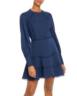AQUA - Crochet-Trim Fit-and-Flare Dress - 100% Exclusive