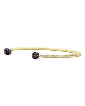 Freida Rothman Pave Thin Open Cuff Bracelet in Rhodium & 14K Gold-Plated Sterling Silver