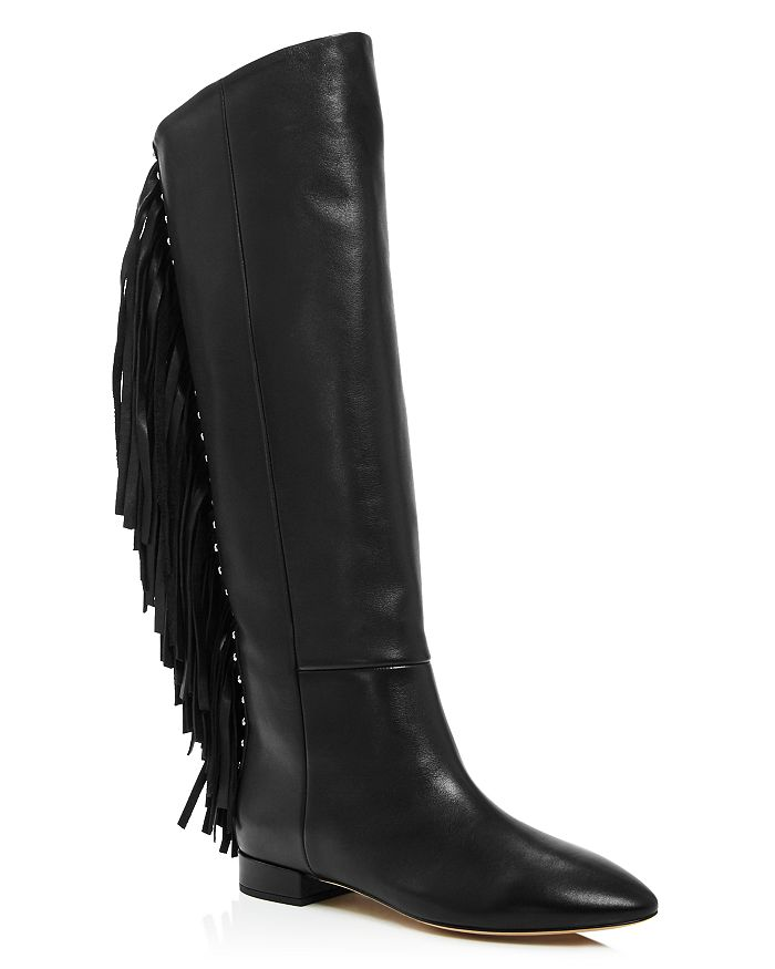 Saint Laurent Women's Dana 20 Tassel Tall Boots In Nero