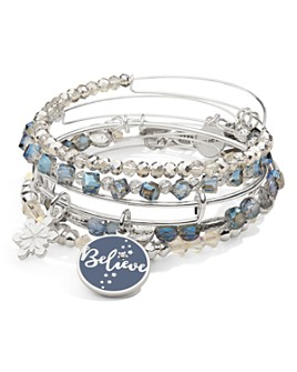 Alex and Ani - Words Are Powerful Believe & Snowflake Duo Expandable Charm Bracelets, Set of 5