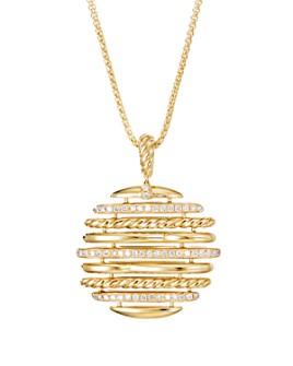 "David Yurman - 18K Yellow Gold Tides Pendant Necklace with Pavé Diamonds, 36"""