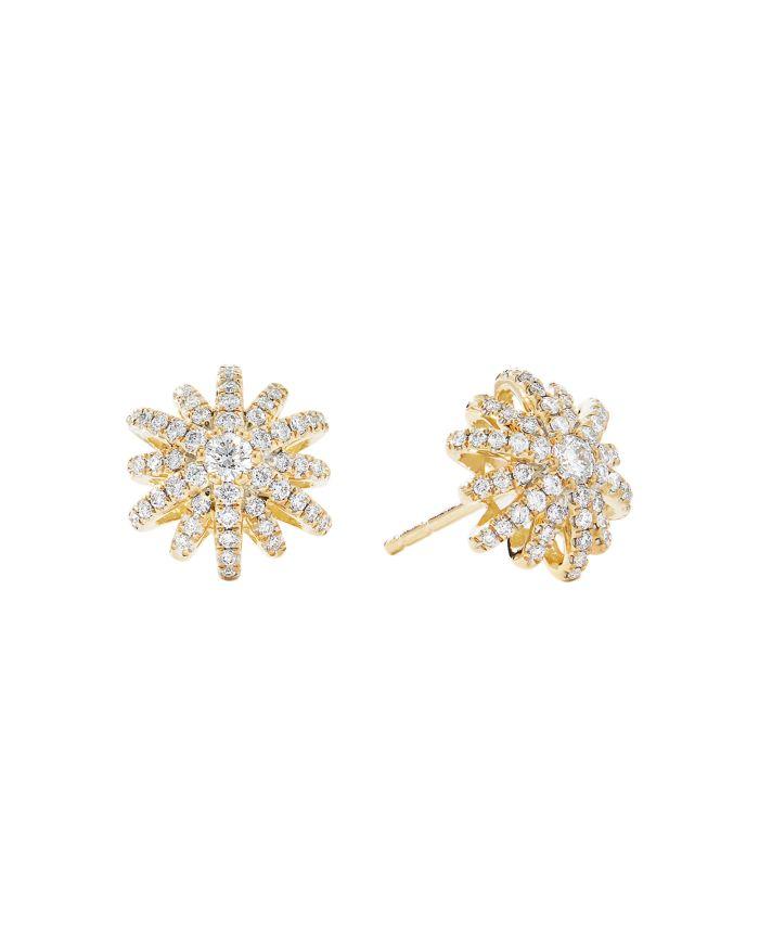 David Yurman 18K Yellow Gold Starburst Small Stud Earrings with Pavé Diamonds   | Bloomingdale's