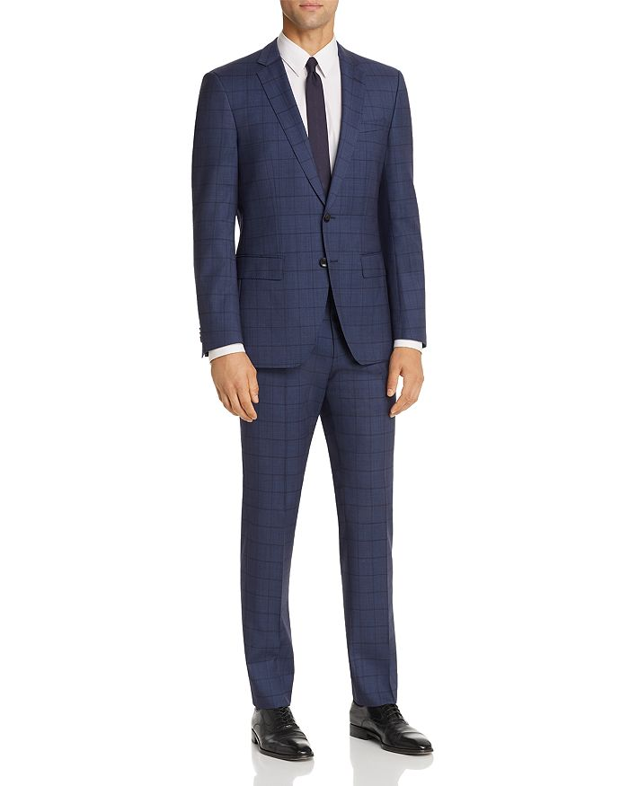 BOSS - Huge/Genius Windowpane Plaid Slim Fit Suit
