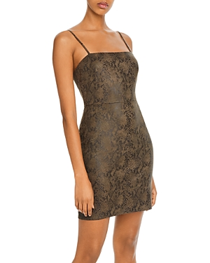 Aqua Snake Print Faux-Suede Sheath Dress - 100% Exclusive