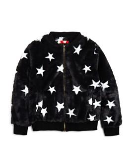 AQUA - Girls' Star Print Faux Fur Bomber Jacket, Big Kid - 100% Exclusive