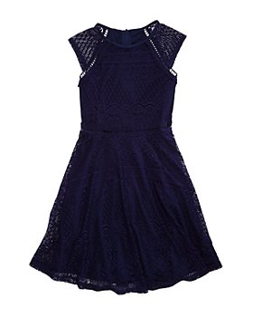 US Angels - Girls' Cap-Sleeve Lace Dress, Big Kid - 100% Exclusive
