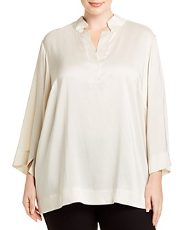 Eileen Fisher Plus - Silk Stand-Collar Blouse