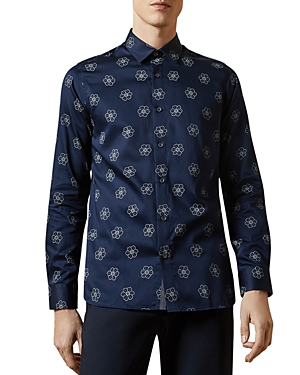 Ted Baker T-shirts FLORAL-PRINT SLIM FIT BUTTON-DOWN SHIRT