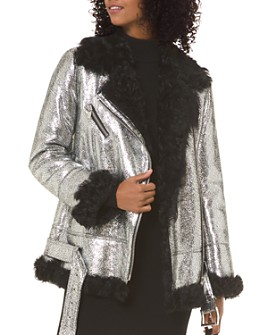 MICHAEL Michael Kors - Metallic Real Lamb Shearling Moto-Style Jacket