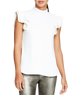 HALSTON - Architectural-Sleeve Crepe Top
