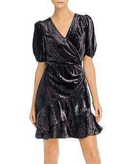 Parker - Hayden Metallic-Velvet Faux-Wrap Dress