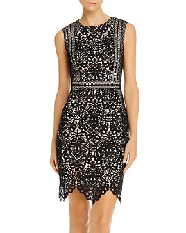 Aidan by Aidan Mattox - Scalloped Lace Sheath Dress - 100% Exclusive
