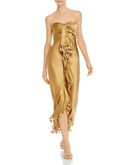 Cinq à Sept - Elise Silk Strapless Tassel-Trim Maxi Dress