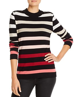 KARL LAGERFELD PARIS - Striped Button-Accent Sweater