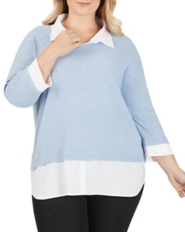 Foxcroft Plus - Miles Layered-Look Sweater
