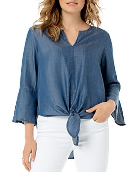 Liverpool Los Angeles - Chambray Tie-Front Top