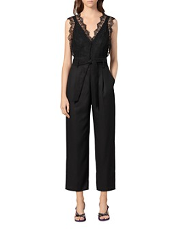 Sandro - Alexis Belted Lace-Detail Jumpsuit