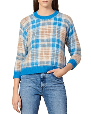 Sandro Sweaters POESA PLAID CREWNECK SWEATER