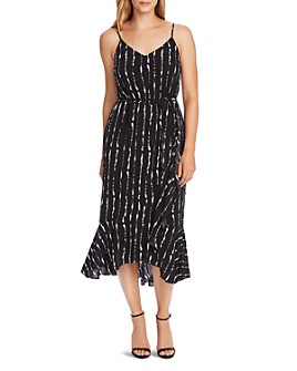 VINCE CAMUTO - Striped Ruffled-Hem Midi Dress