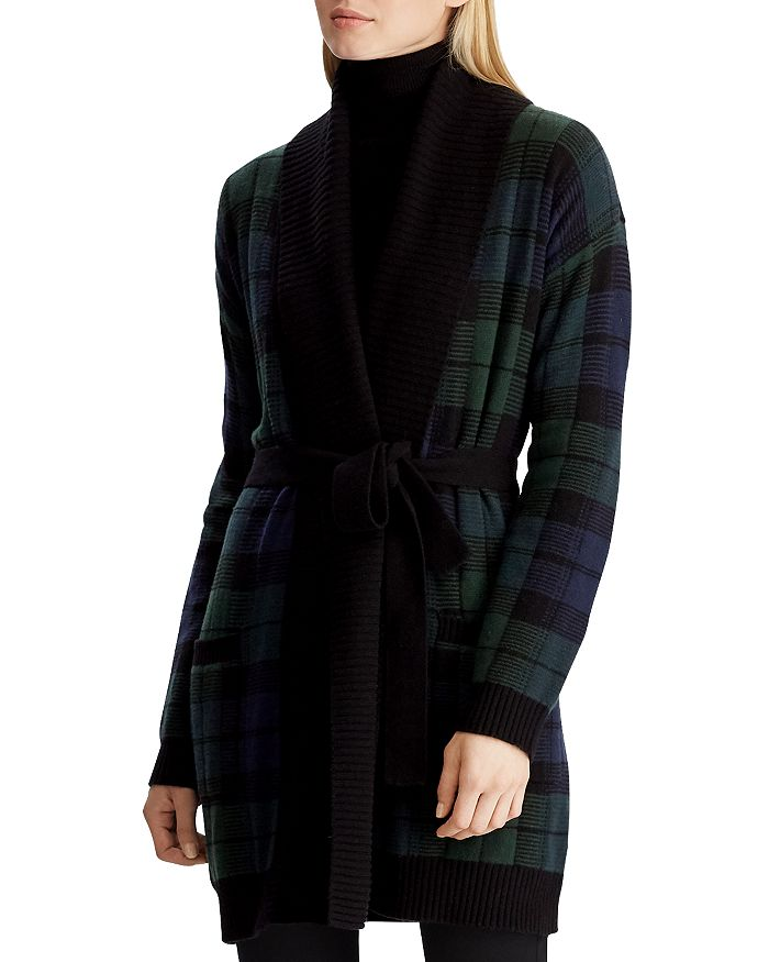 Ralph Lauren - Plaid Shawl-Collar Wrap Cardigan
