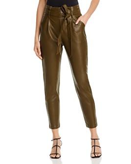 Lucy Paris - Faux Leather Paperbag-Waist Pants - 100% Exclusive