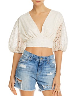 Significant Other - Malia Eyelet Puff-Sleeve Crop Top