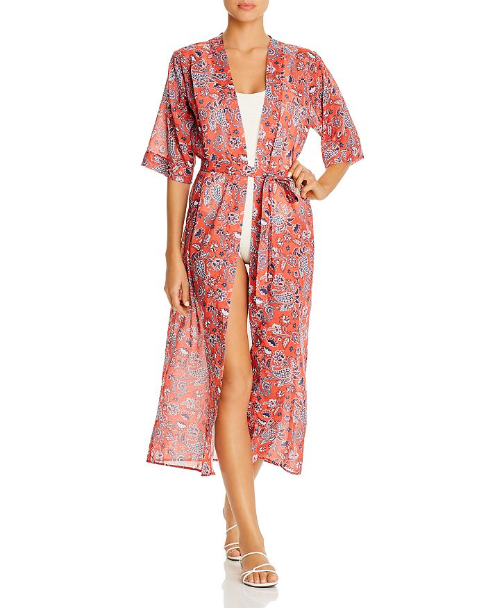 Verde Limon Paisley Print Caftan Swim Cover-up In Red Floral