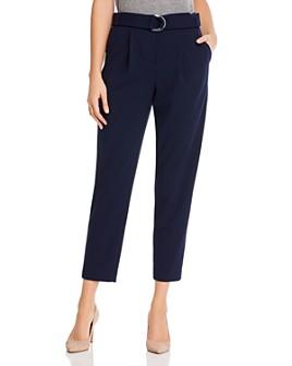 Calvin Klein - Belted Pleated Slim-Leg Pants