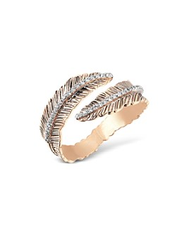 Kismet By Milka - 14K Rose Gold Diamond Feather Bypass Ring