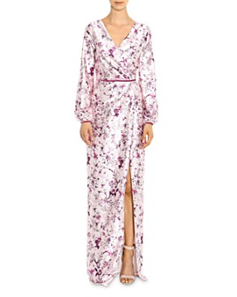 MARCHESA NOTTE - Crossover Floral V-Neck Gown