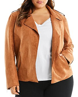 Estelle Plus - Faux Suede Open-Front Jacket
