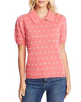 CeCe - Short-Sleeve Pom-Pom Sweater