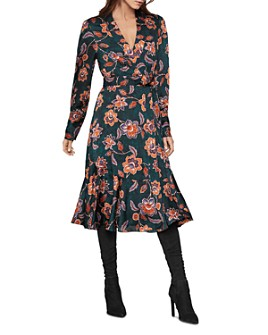 BCBGMAXAZRIA - Floral Satin Georgette Wrap Dress