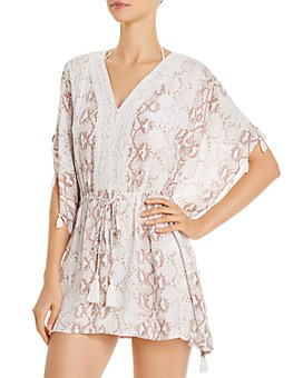 Surf Gypsy - Snakeskin-Print Tunic Swim Cover-Up