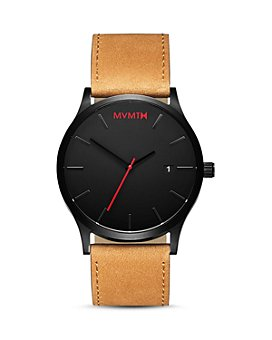 MVMT - Classic Black Tan Leather Strap Watch, 45mm