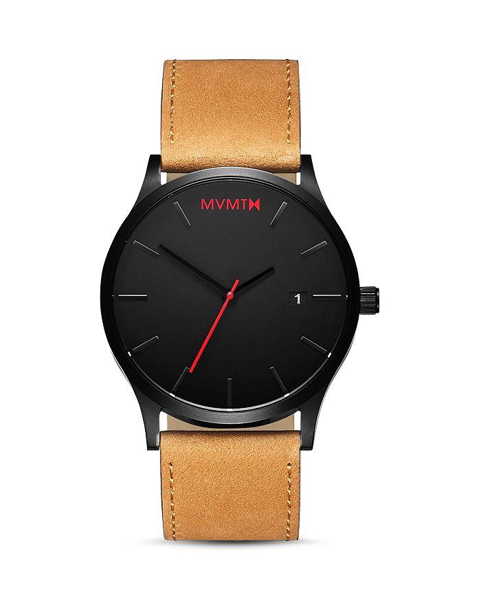 MVMT - Classic Black Tan Leather Strap Watch, 45mm
